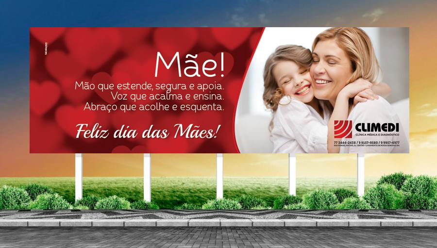 Climedi - Criação do outdoor para campanha do dia das mães