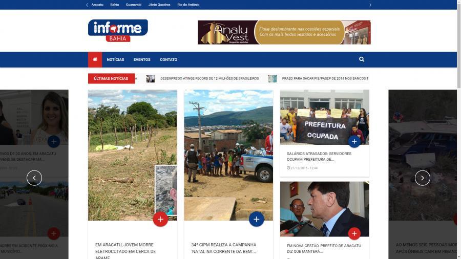 Informe Bahia - Hospedagem e desenvolvimento em modo responsivo do site Informe Bahia - Brumado/BA.