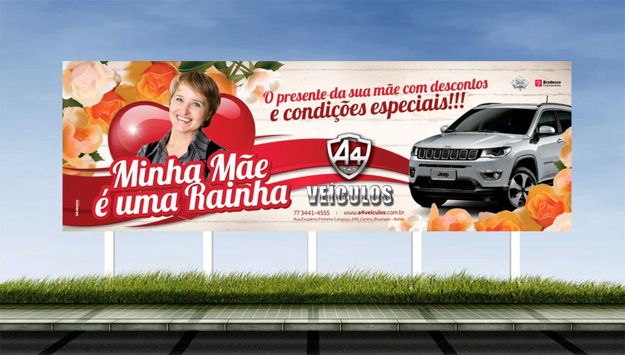 A4 Veículos - Criação do outdoor para campanha do dia das mães.