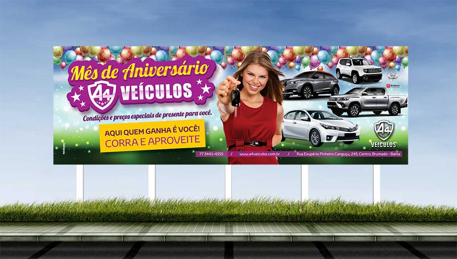 A4 Veículos - Criação da campanha para o mês de aniversário da loja. Brumado/BA