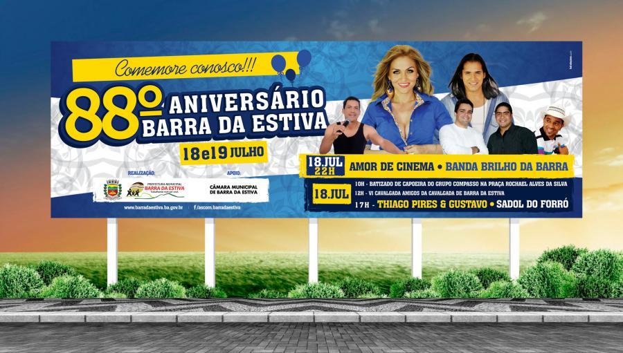 Prefeitura de Barra da Estiva - Criação do outdoor para campanha de aniversário de 88 anos