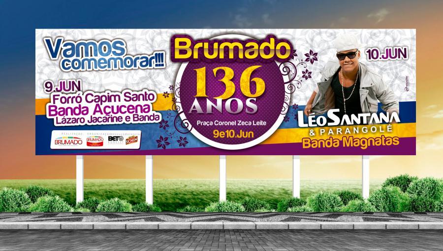 Prefeitura de Brumado - Criação do outdoor para campanha de aniversário de 136 anos